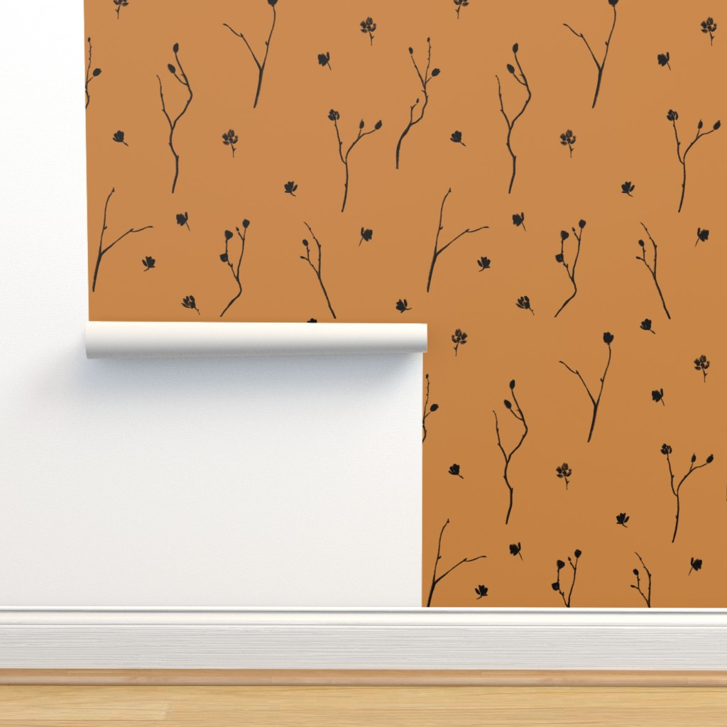 Isobar Durable Wallpaper featuring Little Branches, Black on Deep Gold by karina_love