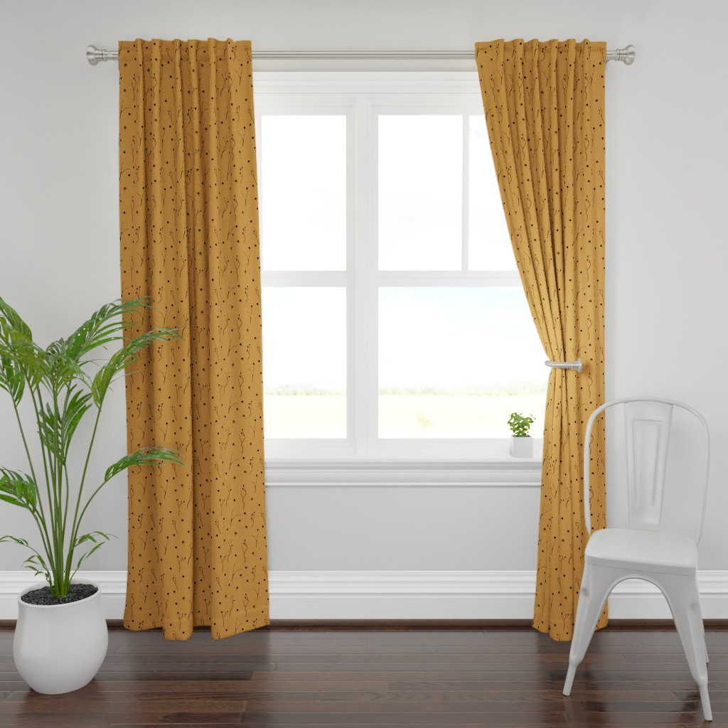 Plymouth Curtain Panel featuring Little Branches, Black on Deep Gold by karina_love