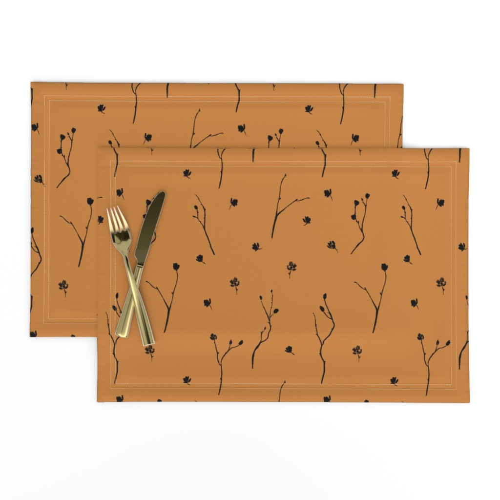 Lamona Cloth Placemats featuring Little Branches, Black on Deep Gold by karina_love