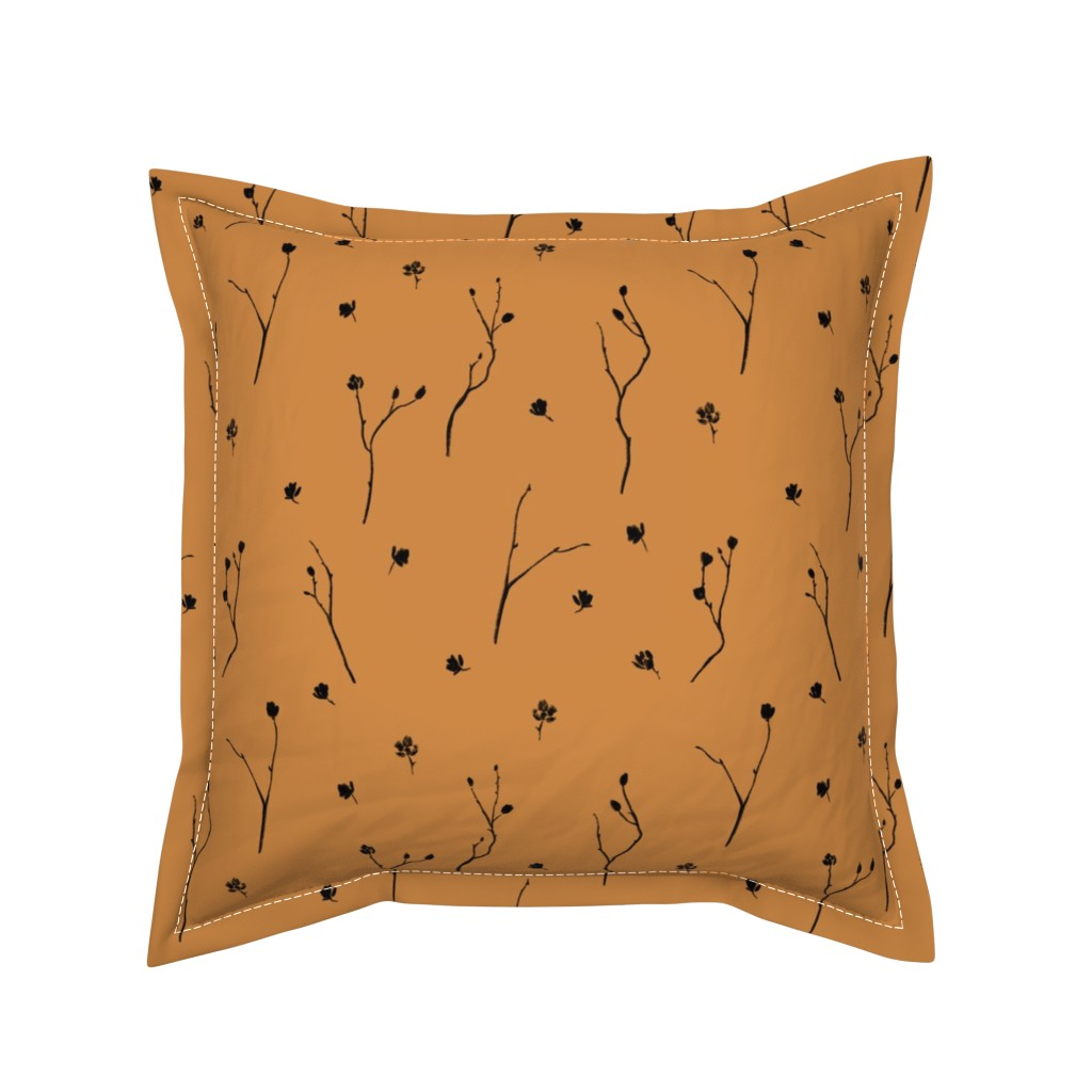 Serama Throw Pillow featuring Little Branches, Black on Deep Gold by karina_love