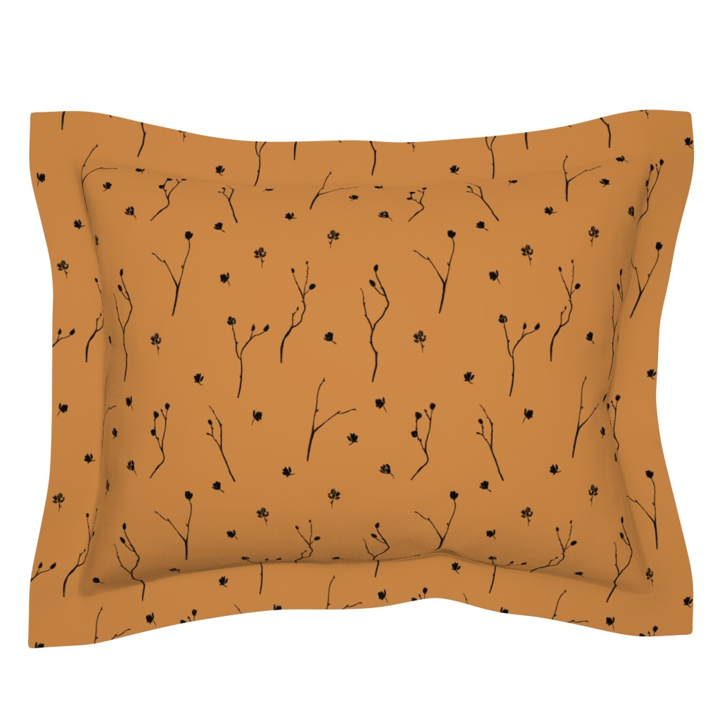 Sebright Pillow Sham featuring Little Branches, Black on Deep Gold by karina_love