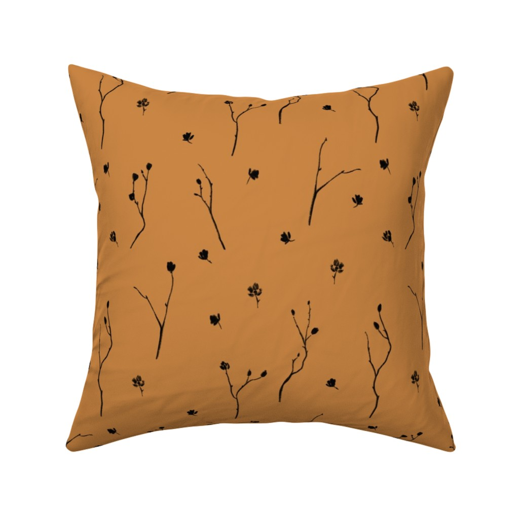 Catalan Throw Pillow featuring Little Branches, Black on Deep Gold by karina_love