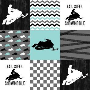 Eat Sleep Snowmobile//Aqua - Wholecloth Cheater Quilt