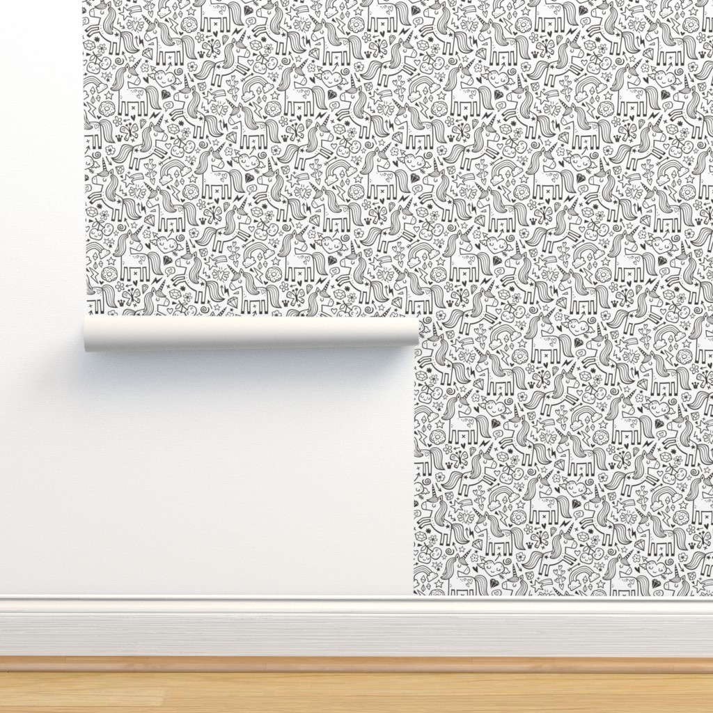 Isobar Durable Wallpaper featuring Unicorn & Hearts Rainbow  Love Valentine Doodle Black & White Coloring by caja_design