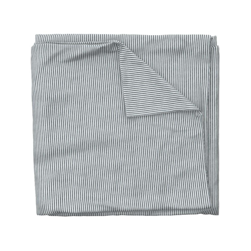 Wyandotte Duvet Cover featuring Provincial Stripes- Antique Blue by kristopher_k