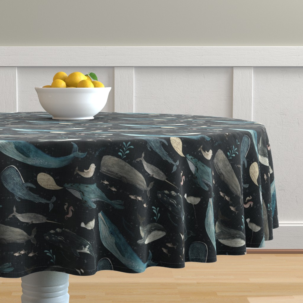 Malay Round Tablecloth featuring Whale's song charcoal {large} by katherine_quinn
