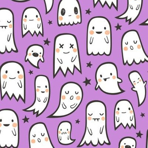 Ghosts and Stars Halloween on Purple