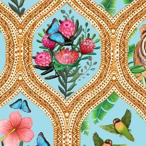 Tiger Ogee, lovebirds & Blue morpho butterflies