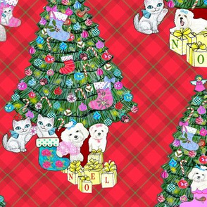 Holiday cats and dogs & christmas trees on red plaid