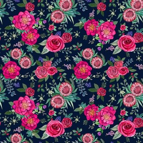 Watercolor Flowers on navy & Pink watercolor