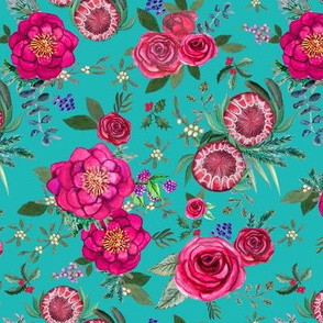 Christmas Floral Pink watercolor // pink and teal floral