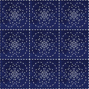 Sashiko flowers on dark denim