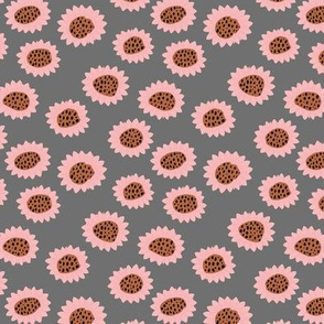Retro style paper cut raw sunflowers abstract flower field joy pattern pink gray SMALL