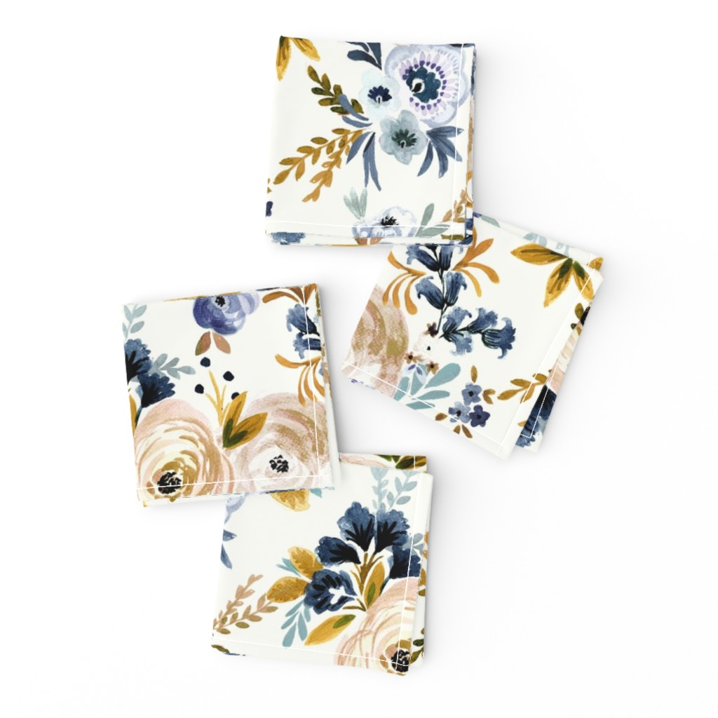 Frizzle Cocktail Napkins featuring Victoria Floral blue mustard by crystal_walen