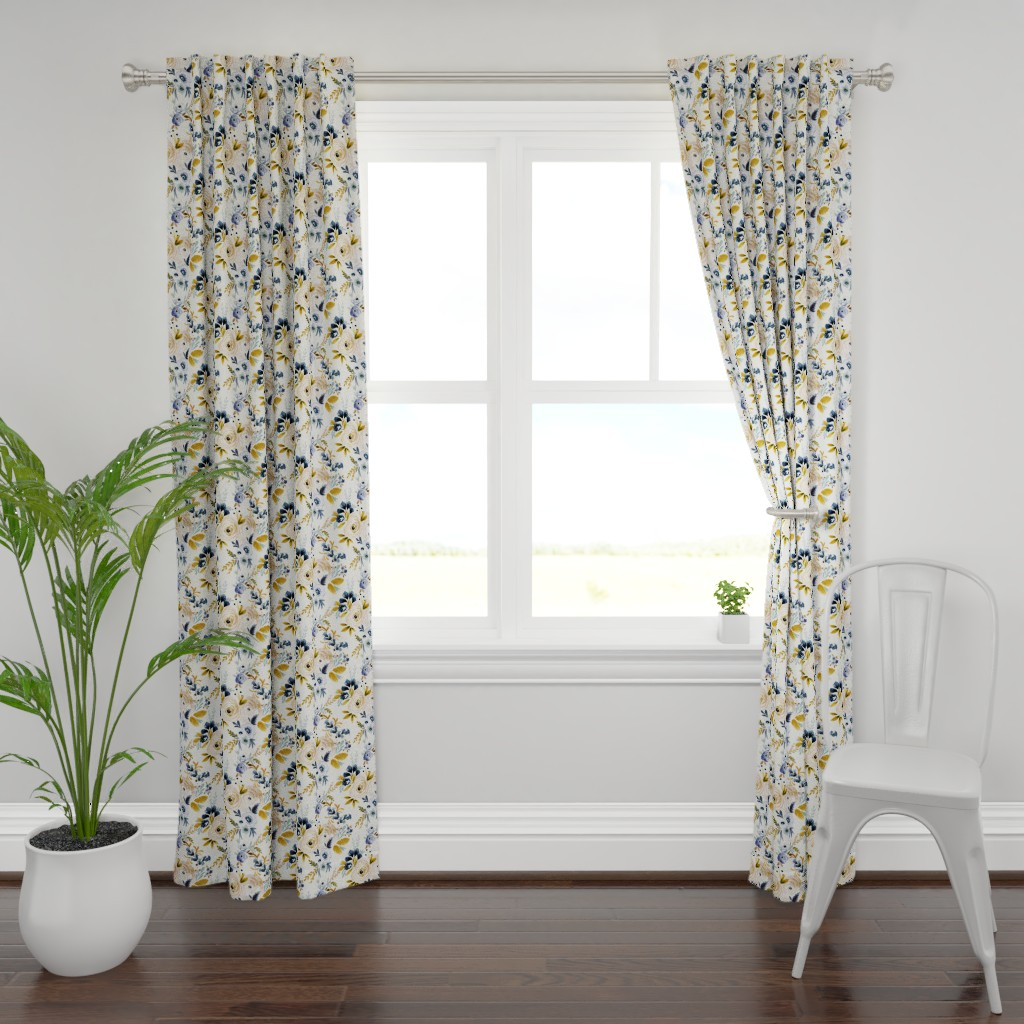 Plymouth Curtain Panel featuring Victoria Floral blue mustard by crystal_walen