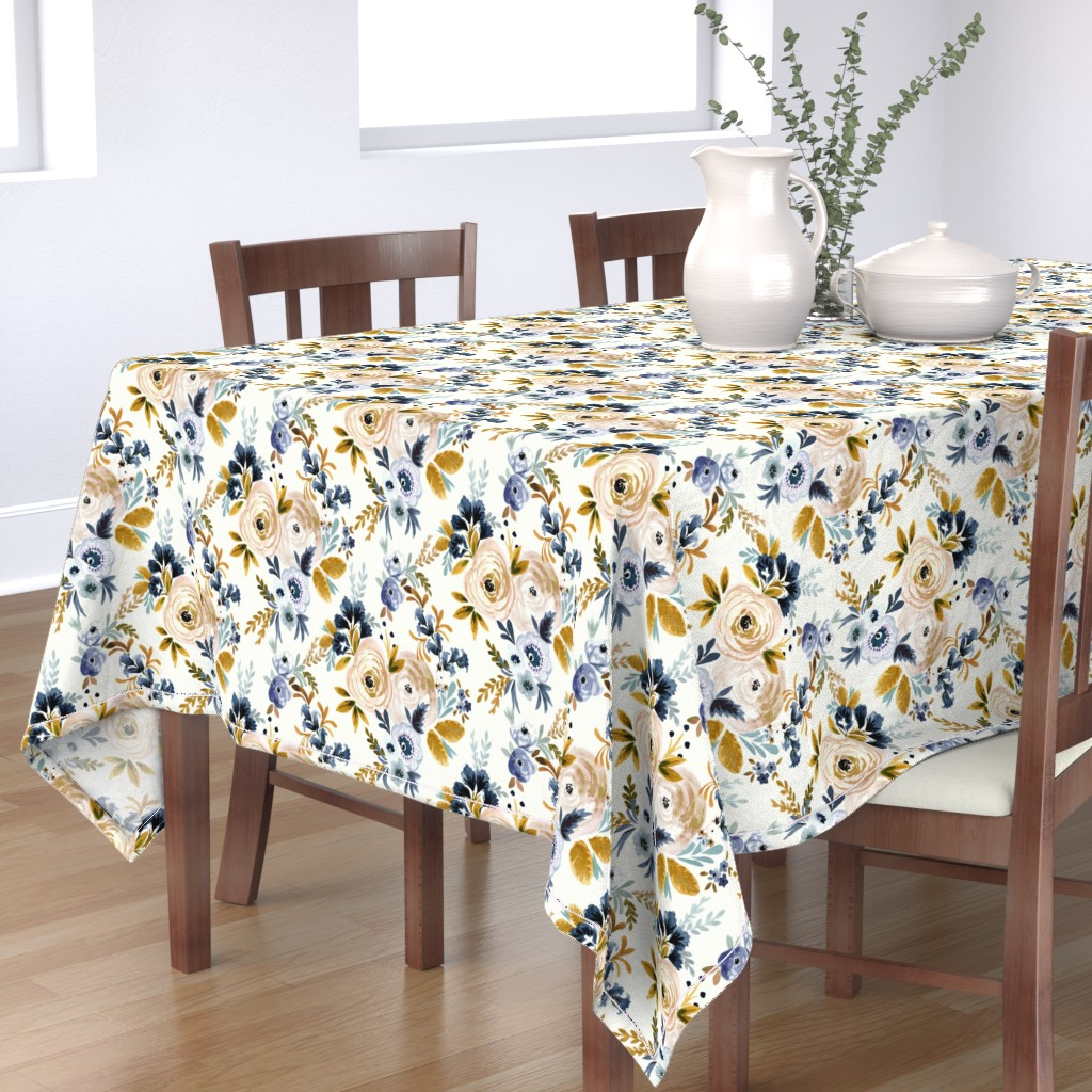 Bantam Rectangular Tablecloth featuring Victoria Floral blue mustard by crystal_walen