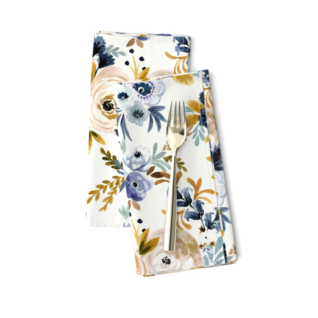 Amarela Dinner Napkins featuring Victoria Floral blue mustard by crystal_walen