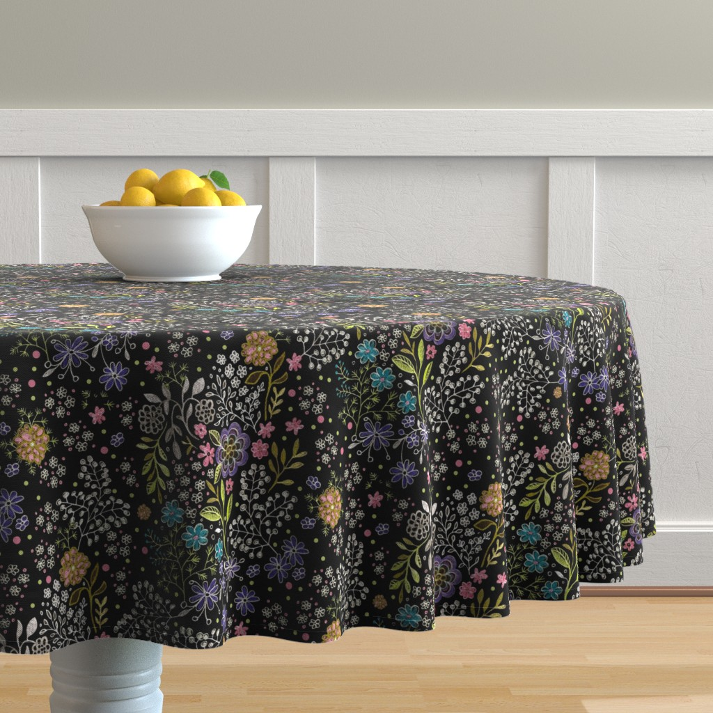 Malay Round Tablecloth featuring Victorian Floral - Jamie Kalvestran by jamie_kalvestran_scrap-bags