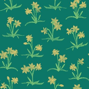 tiny yellow daffodils on spruce green