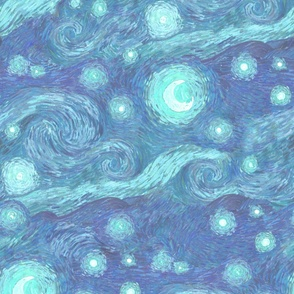 misty starry night, blue moon