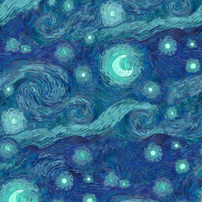 starry night, blue moon