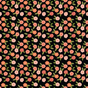 Small Scale Fall Floral in Black