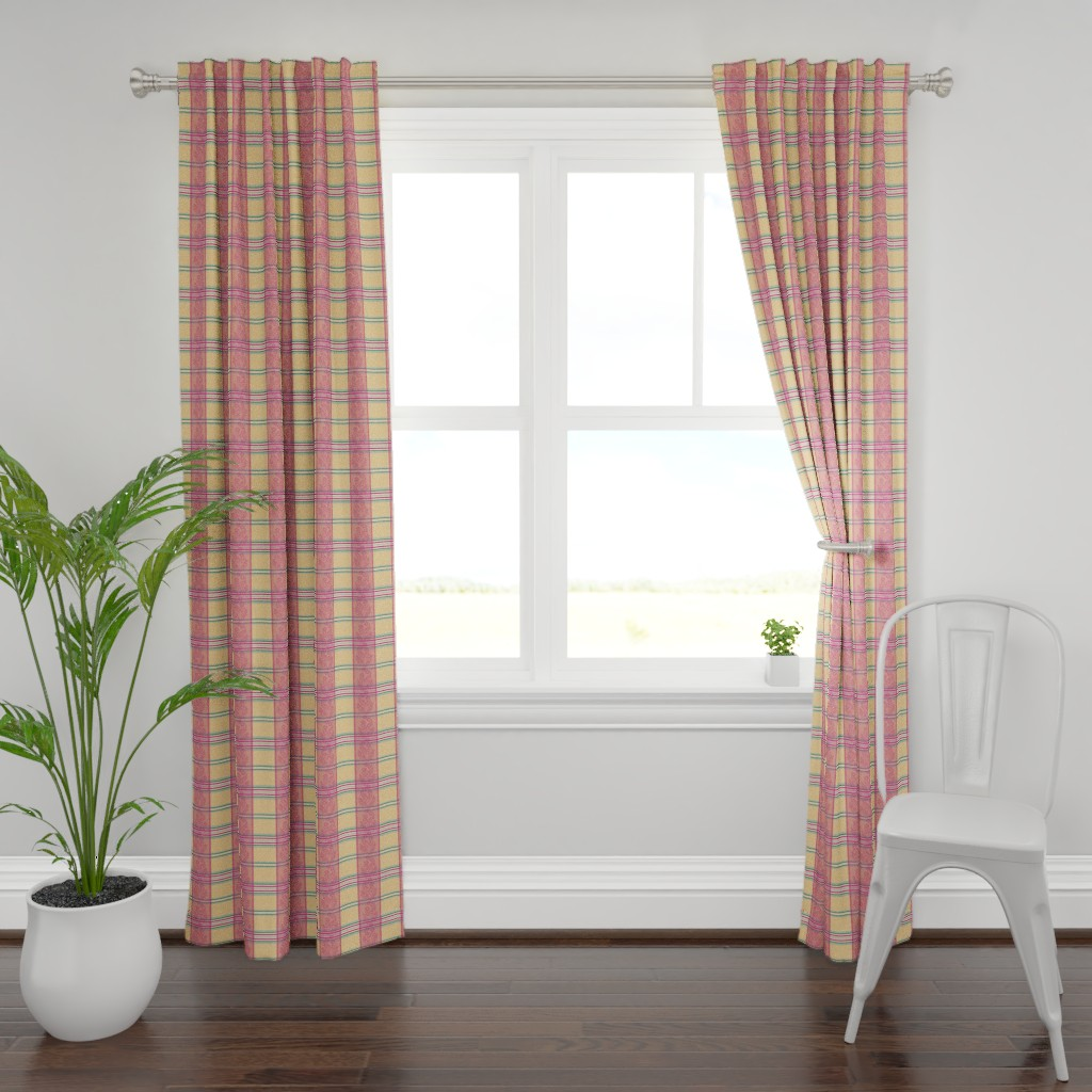 Plymouth Curtain Panel featuring Victorian Stripes with Floral Ribbon by wickedrefined