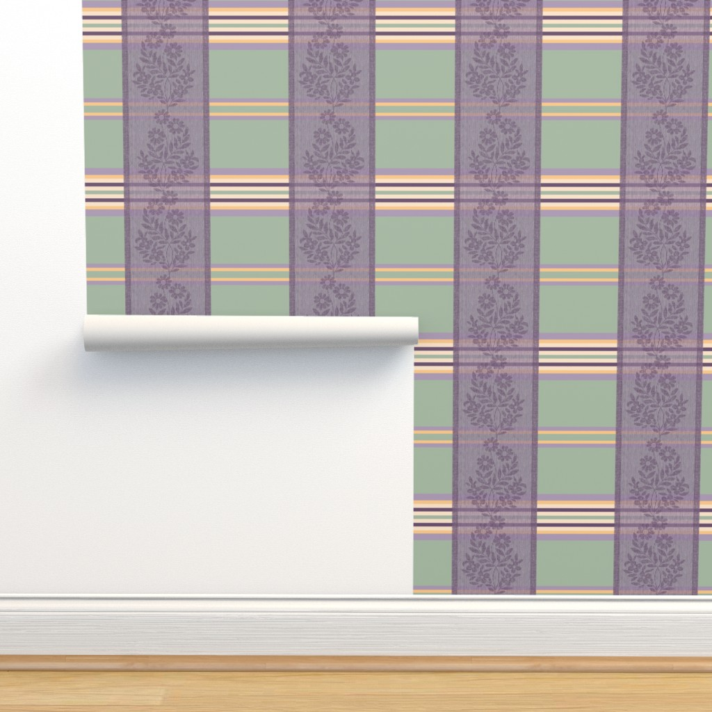 Isobar Durable Wallpaper featuring Victorian Stripes with Floral Ribbon by wickedrefined