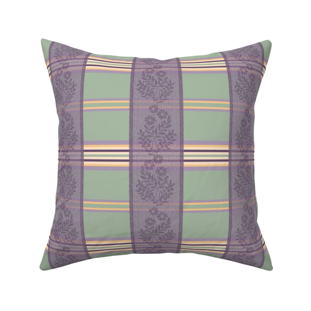 Catalan Throw Pillow featuring Victorian Stripes with Floral Ribbon by wickedrefined