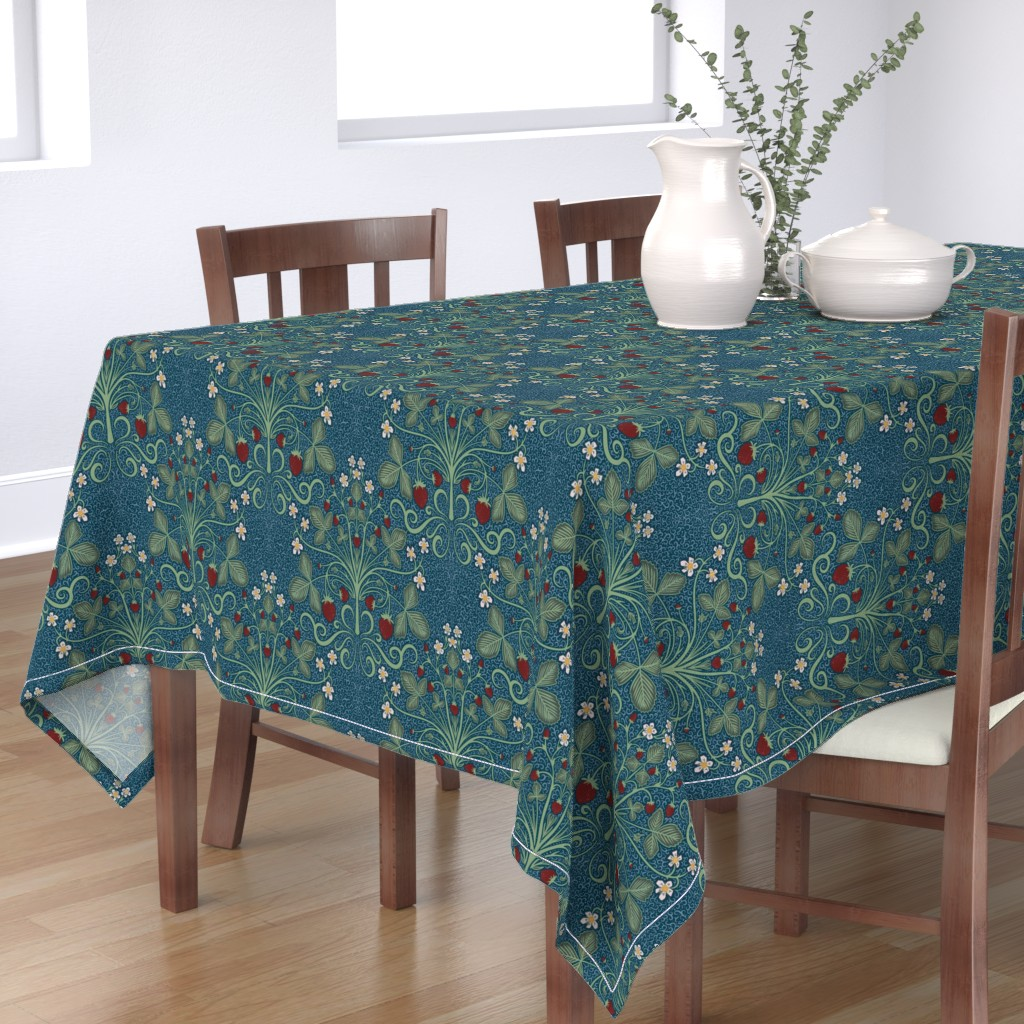 Bantam Rectangular Tablecloth featuring Victorian Strawberrries - blue by new_branch_studio