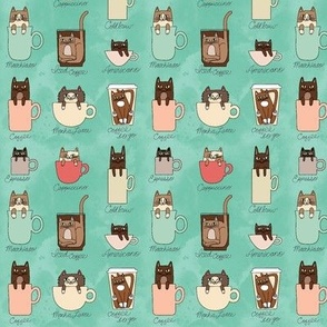 Tiny Coffee Cats in Minty