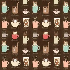 Tiny Coffee Cats in Espresso