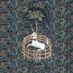 The Unicorn Is In Captivity ~ Floral Tapestry ~ Blue