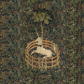 The Unicorn Is In Captivity ~ Floral Tapestry ~ Spring Night