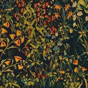 The Unicorn Floral Tapestry ~  Summer Night