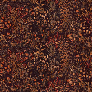 The Unicorn Floral Tapestry ~  Autumn Night