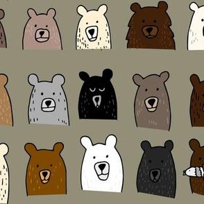 Bear Portraits on Green