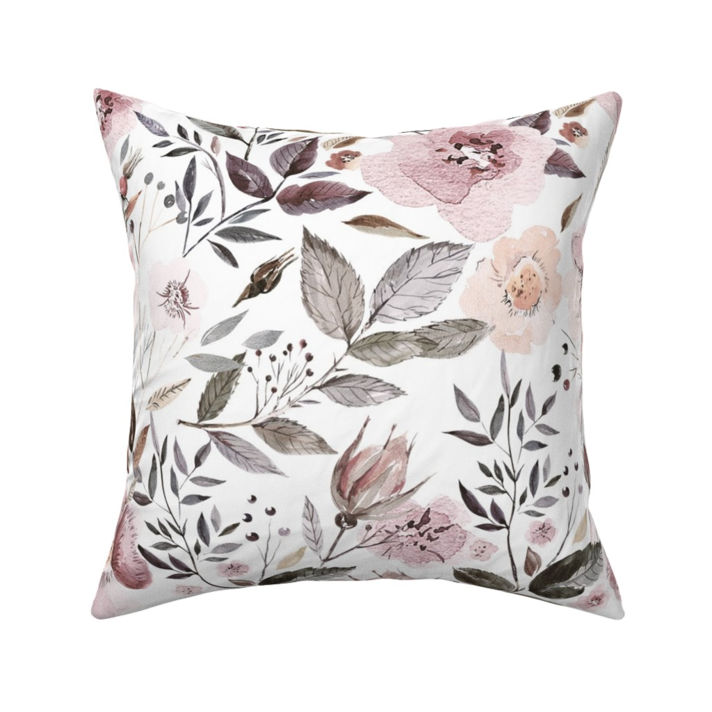 """Catalan Throw Pillow featuring 18"""" UtART - Autumnal Watercolor Flowers on white by utart"""