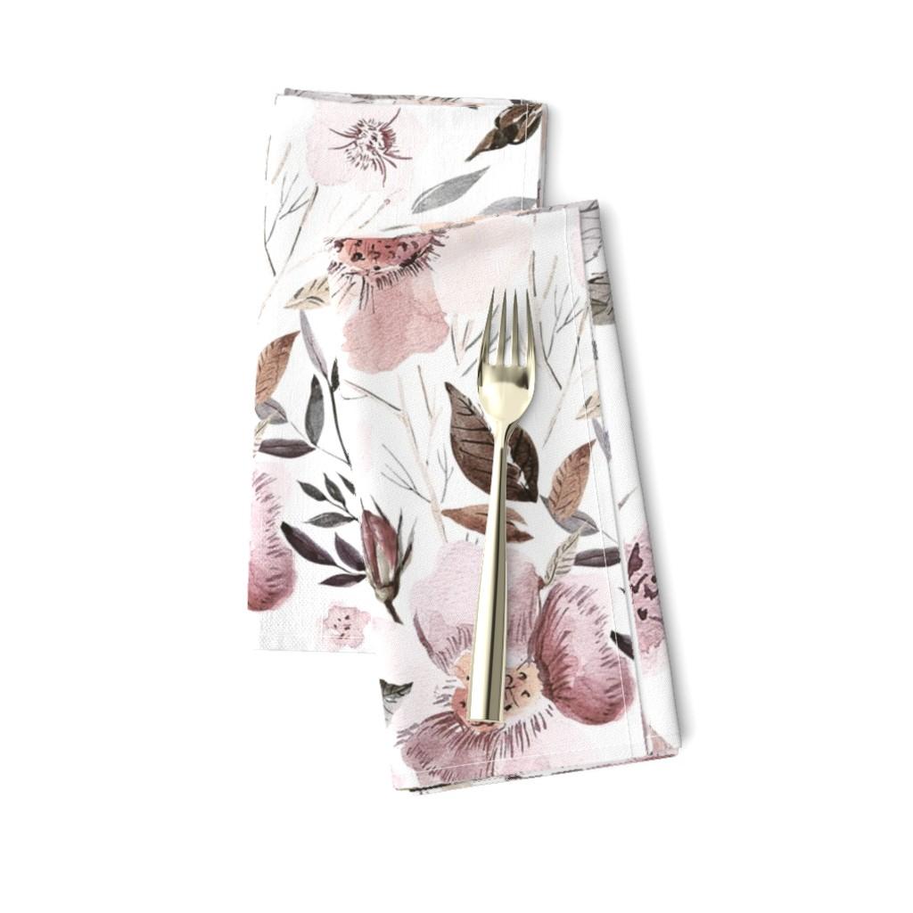 "Amarela Dinner Napkins featuring 18"" UtART - Autumnal Watercolor Flowers on white by utart"