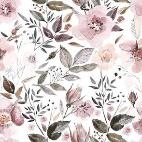 "18"" UtART - Autumnal Blush Watercolor Flowers on white"