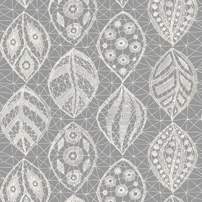 Lace Leaves - H White, K40