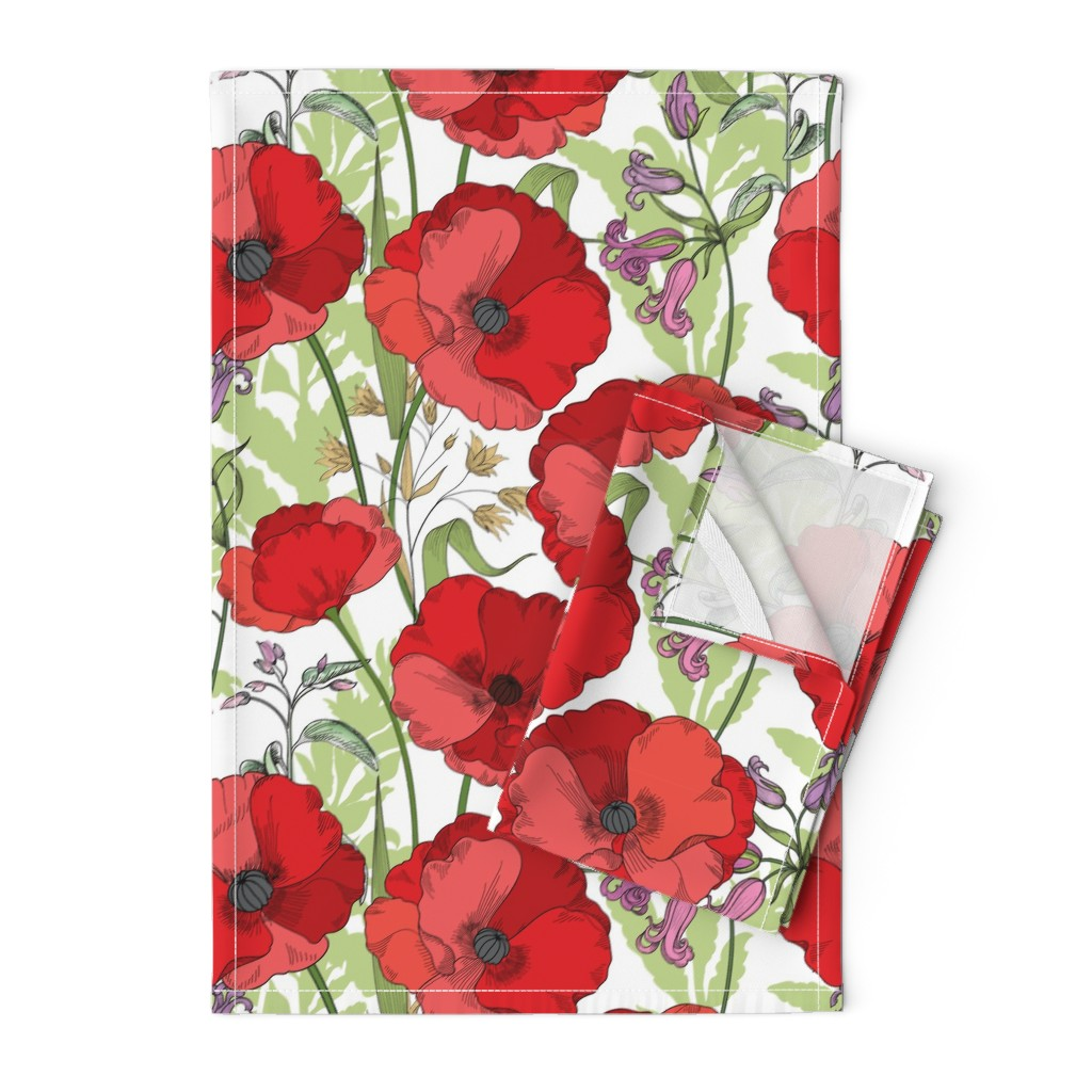 Orpington Tea Towels featuring Poppy Goes the Weazle Red Flowers on White by fabric_is_my_name