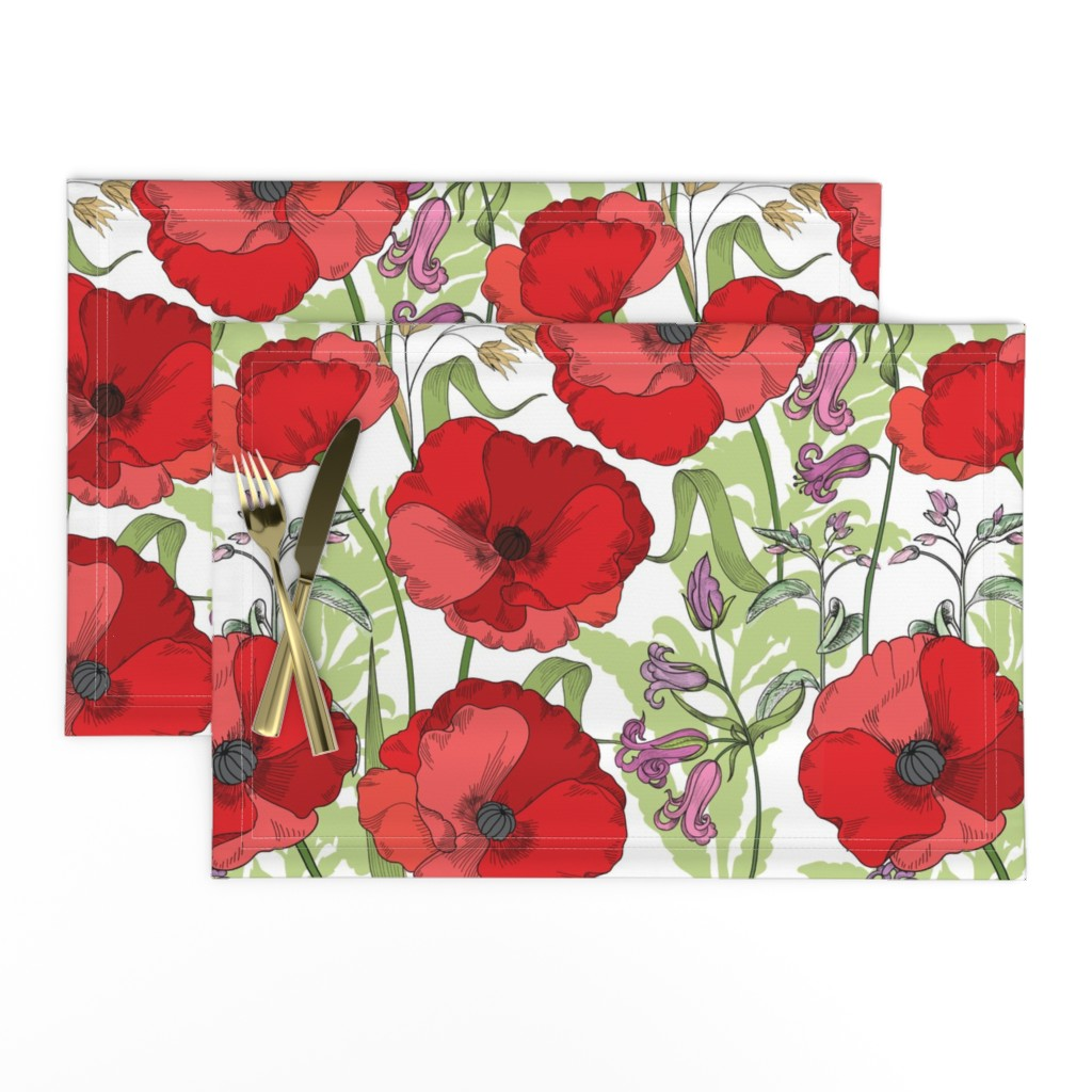 Lamona Cloth Placemats featuring Poppy Goes the Weazle Red Flowers on White by fabric_is_my_name
