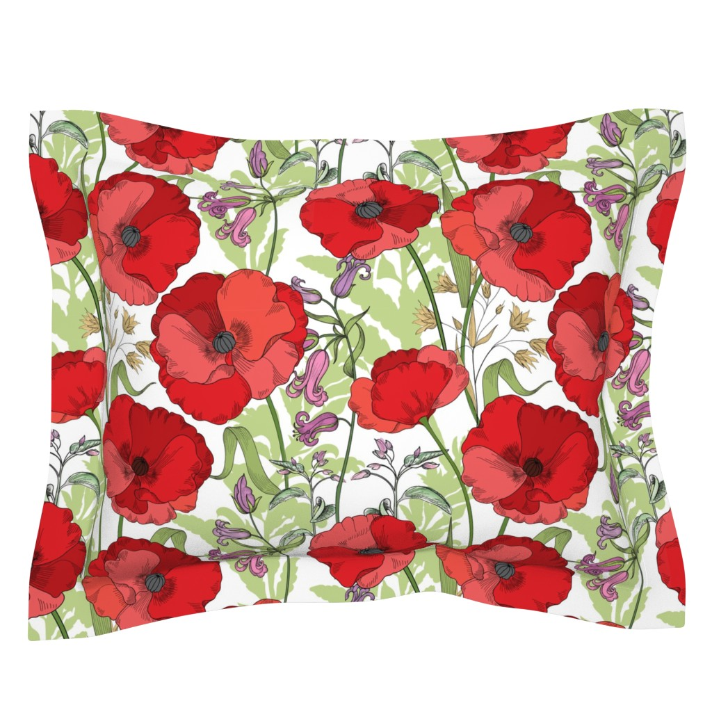 Sebright Pillow Sham featuring Poppy Goes the Weazle Red Flowers on White by fabric_is_my_name
