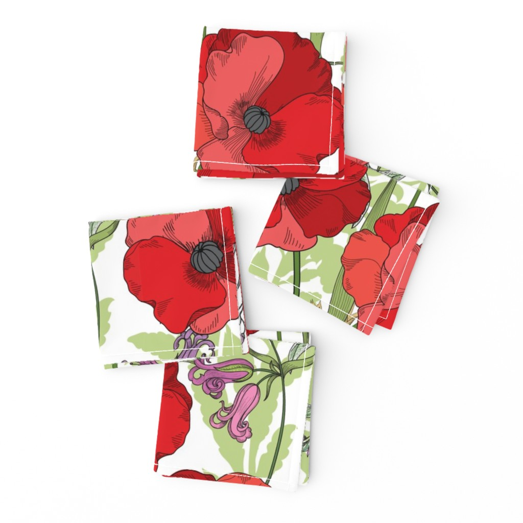 Frizzle Cocktail Napkins featuring Poppy Goes the Weazle Red Flowers on White by fabric_is_my_name