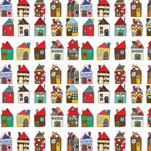 Salt Box Cartoon Houses on White