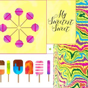 Ice Cream  Cut & sew Candy Sweet Pillows Yard Panel Rainbow _ Miss Chiff Designs