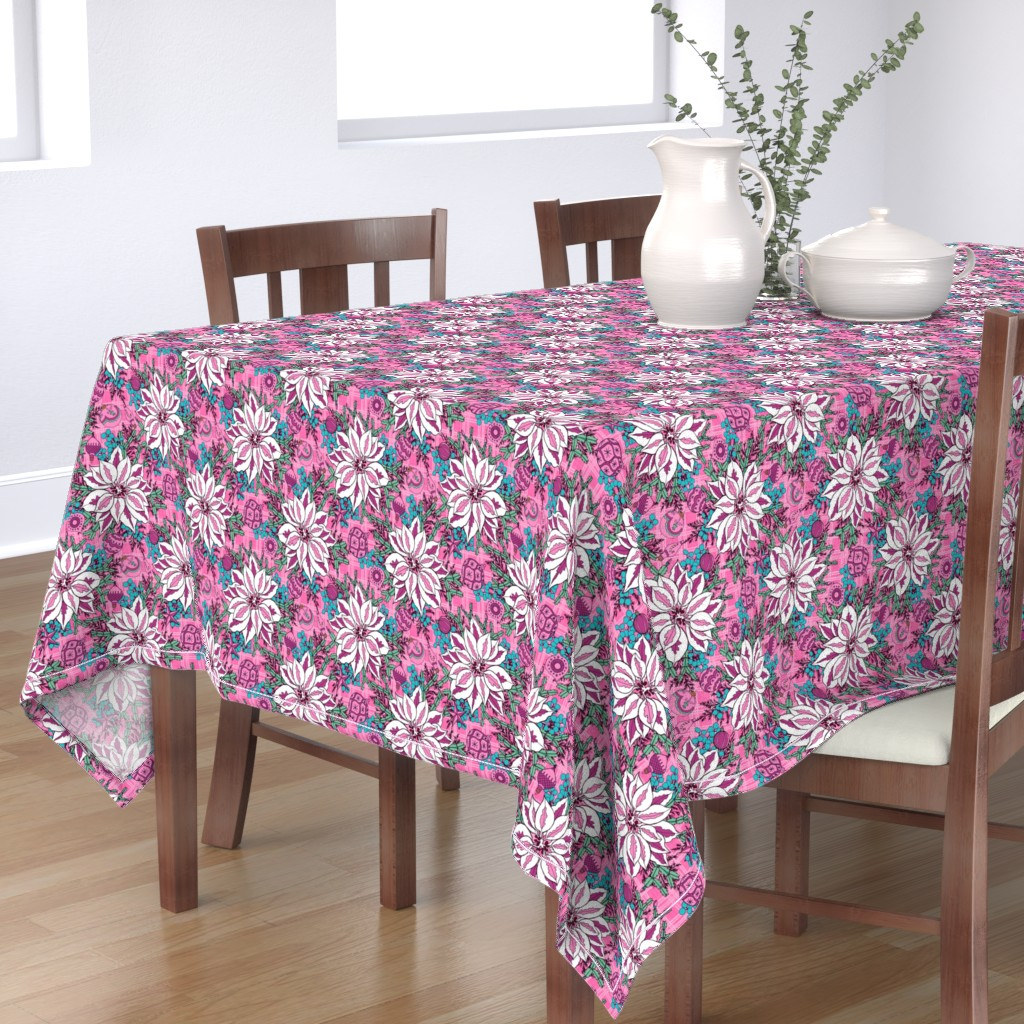 Bantam Rectangular Tablecloth featuring Pink Elegant Holiday, small by palifino