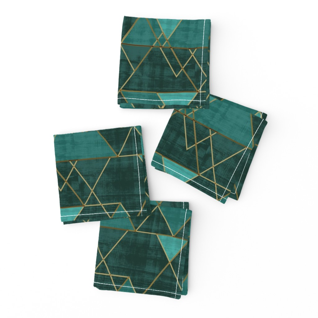 Frizzle Cocktail Napkins featuring Mod Triangles Emerald Teal by crystal_walen