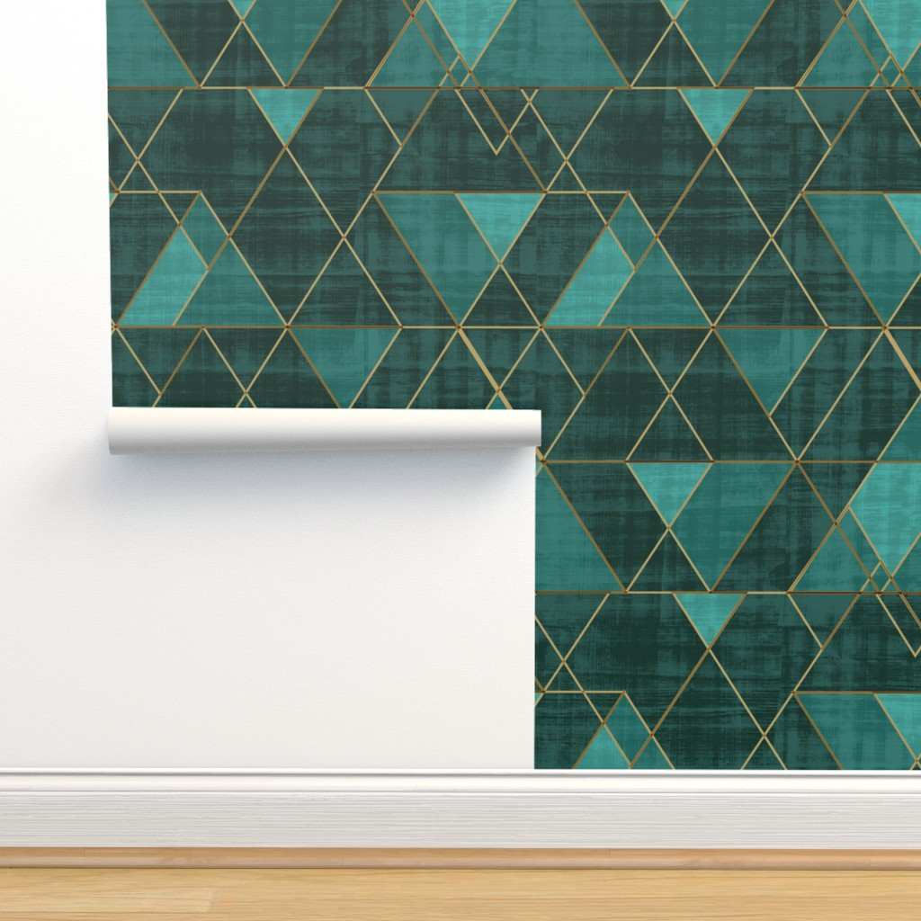 Isobar Durable Wallpaper featuring Mod Triangles Emerald Teal by crystal_walen